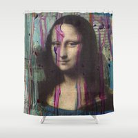 mona lisa Shower Curtains featuring Mona Lisa by LuzGraphicStudio