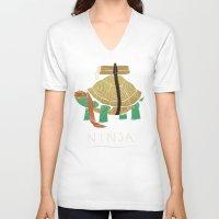 ninja turtle V-neck T-shirts featuring ninja - orange by Louis Roskosch