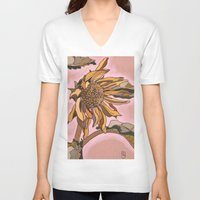 sunflower V-neck T-shirts featuring Sunflower by Nadia Heart