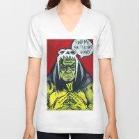 medicine V-neck T-shirts featuring Medicine Man by Hugo Maldonado