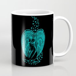 Angel with Heart and Stars  Black and green Design Coffee Mug
