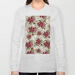 Poinsettia Pattern Long Sleeve T-shirt