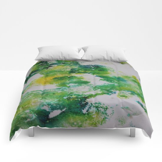 Its about space - in greens and yellows Comforters
