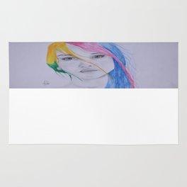 The girl with rainbow hair Rug