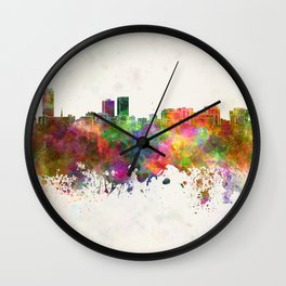 Baton Rouge skyline in watercolor background Wall Clock