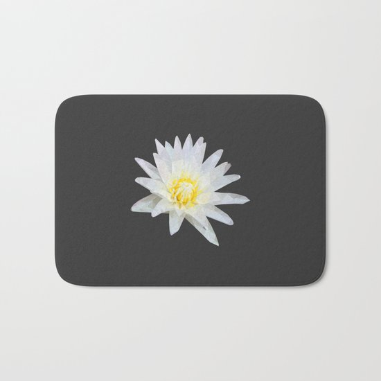 White Lotus Flower Bath Mat
