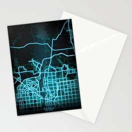 Peoria, AZ, USA, Blue, White, Neon, Glow, City, Map Stationery Cards