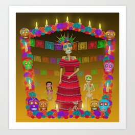 Yellow Ómbre Day of the Dead Art Print