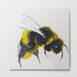 Watercolor Bumble Bee Metal Print