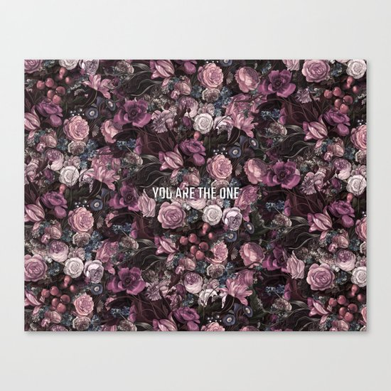 You Are The One // Floral Valentine's Heart Canvas Print