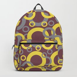 Grey Yellow Red Circle Pattern Pantone 2021 Color of the Years and Accent Shades Backpack