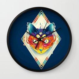 Cat eyes fire Wall Clock