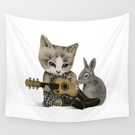 THE CAT AND THE RABBIT Wall Tapestry