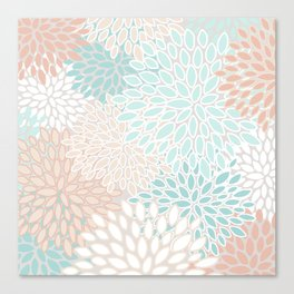 Floral Prints, Soft, Peach and Teal, Modern Print Art Canvas Print