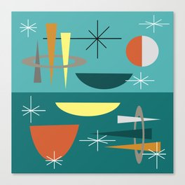 Turquoise Mid Century Modern Canvas Print