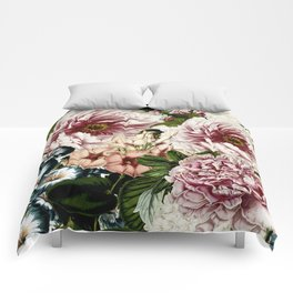 Vintage Peony and Ipomea Pattern - Smelling Dreams Comforters