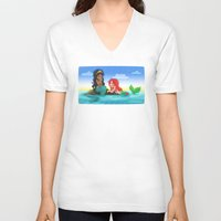 mermaids V-neck T-shirts featuring OUAT - Mermaids by Choco-Minto