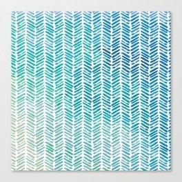 Handpainted Herringbone Chevron pattern-small-aqua watercolor on white Canvas Print