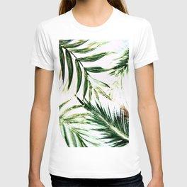 white green palm tree leaves tropical print T-shirt