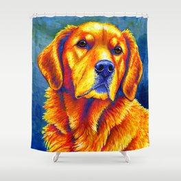 Colorful Golden Retriever Dog Portrait Shower Curtain