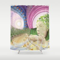 breathe Shower Curtains featuring Breathe by y0y0art