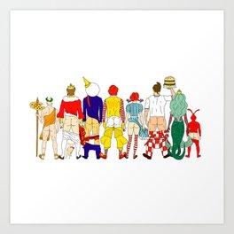 Fast Food Butts Mascots Art Print
