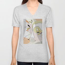 Growing Nature - Girl portrait #selflove Unisex V-Neck