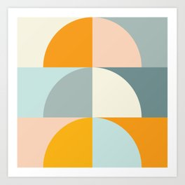 Summer Evening Geometric Shapes in Soft Blue and Orange Art Print