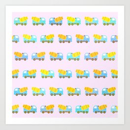 Toy truck pattern Art Print