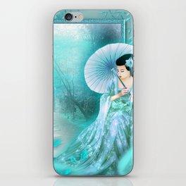 Geisha In Teal iPhone Skin