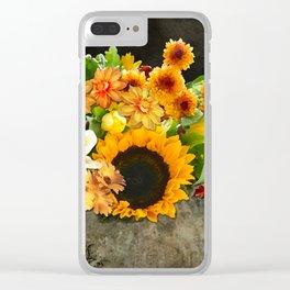 Fall Flowers on a Farm Table Clear iPhone Case
