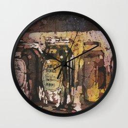 Fine art watercolor batik painting of honey jars at Farmers Market- Raleigh, North Carolina Wall Clock