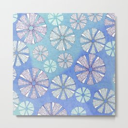 sea urchin blue watercolor Metal Print