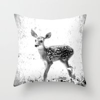 fawn Throw Pillows featuring fawn by 2sweet4words Designs