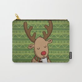 Christmas Deer Enjoying with Coffee Carry-All Pouch