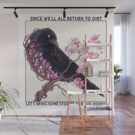 Cherry blossom Crow with text Wall Mural