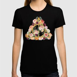 Watercolor Deathly Hallows - Gold/Charcoal T-shirt
