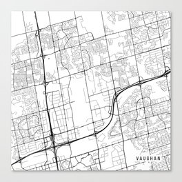 Vaughan Map, Canada - Black and White Canvas Print