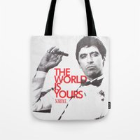 scarface Tote Bags featuring SCARFACE by I Love Decor