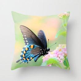 Spicebush Swallowtail Butterfly on Lantana Throw Pillow