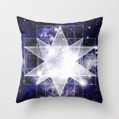 Sacred Geometry : Dark Blue Galaxy Throw Pillow