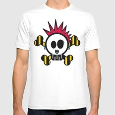 :::::::::PUNK SKULL:::::::::: SMALL White Mens Fitted Tee