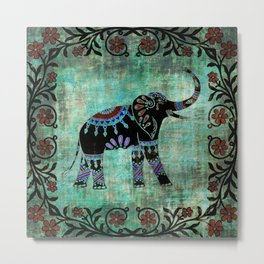 Decorated Elephant Rustic Floral Design Metal Print