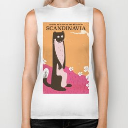 SCANDINAVIA Nature vintage travel poster Biker Tank