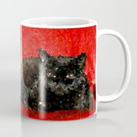 sofa Mugs featuring cat on red sofa by ANArt