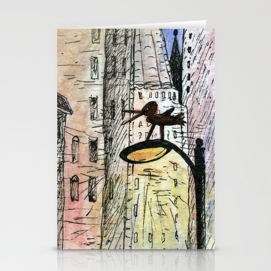 bird in the city Stationery Cards