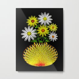 String Art Flowers Metal Print