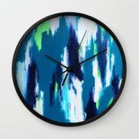 ikat Wall Clocks featuring Ikat by kristinesarleyart