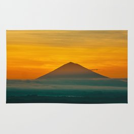 Mountain Volcano In The Distant Green Yellow Orange Sunset Hues Landscape Photography Rug