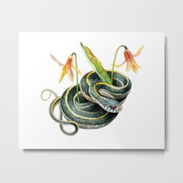 Snake with Wildflower Metal Print